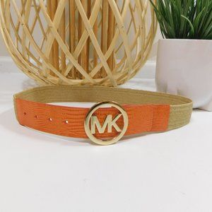 Michael Kors Orange Brown woven belt snakeskin S